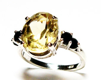 "Citrine, citrine ring, accent ring, 3 stone ring, yellow black, anniversary ring,  s 6 1/2   ""Diamond in the Sky"""
