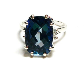 """Mystic Topaz, teal topaz ring, blue green, solitaire topaz ring, birthstone ring, s 6 3/4 """"Teal Princess"""""""