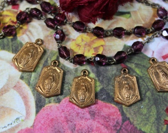 1 Vintage Solid Brass Religious Medal