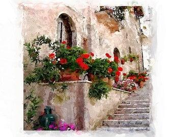 Watercolor Geraniums