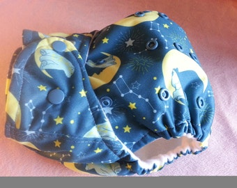 SassyCloth one size pocket diaper with dreaming bears PUL print. Ready to ship.