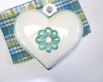 Heart Wall Hanging Handmade Stoneware Mold Mould White Blue-Green Signed