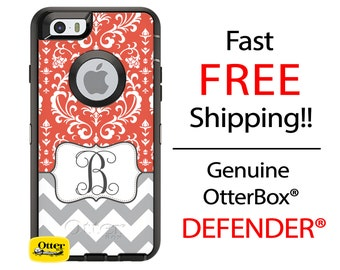 OTTERBOX Defender iPhone 6 5 5S 5C 4/4S iPod Touch 5G Case Damask Chevron Stripes Coral Gray Name Initials Personalized Monogram ID
