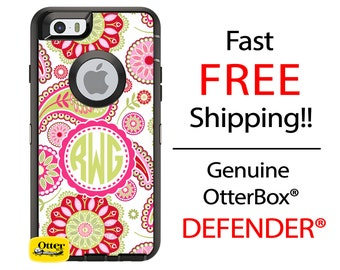 OtterBox Defender Series Phone Case for iPhone 6/6s, 6 Plus/6s Plus, 5/5s/SE, Samsung Galaxy Monogrammed Spring Floral Pink Lime Phone Case