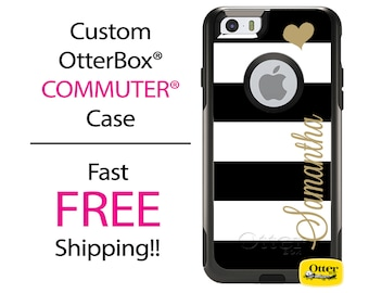 iPhone OtterBox Commuter Case for iPhone 7, 7 Plus, 6/6s, 6 Plus/6s Plus, 5/5s/SE, 5c Galaxy S7 S6 S5 Note 5 Monogrammed Black Gold Striped