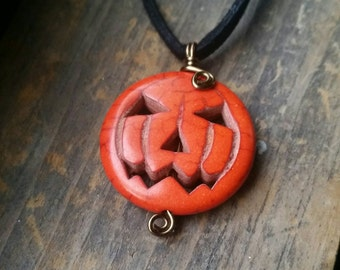 Halloween Jack-o-Lantern Pumpkin Dyed Howlite Wire Wrapped Pendant