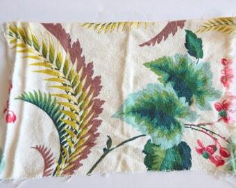 Two Vintage Barkcloth Leafy Floral Pieces