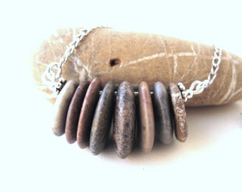 Stone Cairn Necklace Beach Stone Necklace Rock Jewelry Mediterranean Natural Stone Jewelry River Stone Necklace Silver - 8 FOREVER