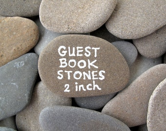 50 Guest Book Stones Wedding Rocks Flat Rocks Wishing Stones Memorial Stones Message Rocks Wish Stones Craft Stones LARGE 1.7 - 2 inch