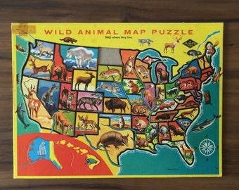 Vintage Wild Animal Map Puzzle, Cardboard Tray Inlaid Jigsaw, Built Rite, Missing North Dakota