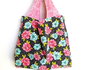 Fabric Tote Bag, Reversible Market Bag, Black Blue Pink, Roses