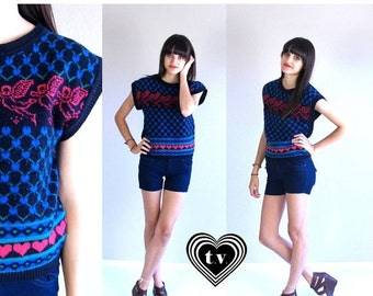 Half Off vtg 80s black CUPID PRINT novelty hearts SWEATER vest Small knit top Valentine's Day kitschy retro indie