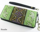 Personalized Monogramed Wallet, Elephant Embroidered Zippered Wallet, Colorful Hmong Tribal Long Wallet, Green Wallet