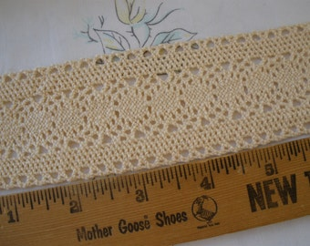 "French Vanilla 2"" wide Cotton Cluny Lace trim picot edge crochet look retro choose yards yardage sewing crafts bobbin machine lace"