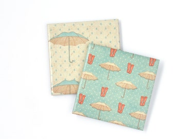 Rain Coasters Umbrella and Wellingtons Retro Style 50s Ceramic Coasters Gift for Her Hostess Gift