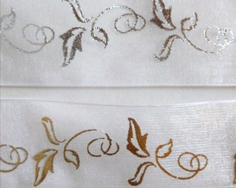 SALE, White and Gold or Siver Sheer Ribbon, Metallic Leaves, Vines, 3 YARDS, 1.5 in. wide, Weddings, Gift Wrapping, Gold and Silver Vines