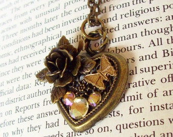 Heart Pendant (HP602) - Bronze Filigree Heart with Rose and Butterfly - Swarovski Crystals in Mickey Ear Pattern