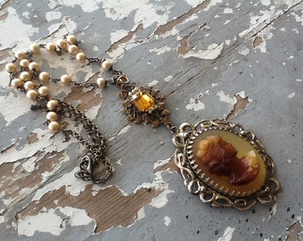 Cameo Assemblage Necklace Repurposed Jewelry Amber Vintage Rosary Beads Sale