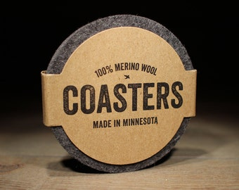 Coasters For Drinks - 100% Merino Wool Felt - Round - Thick German-milled Felt - Lightfast Colors - Natural and Renewable - Charcoal Gray