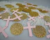 Cross Confetti Baptism Decoration - Christening First Communion Table Decoration - Gold and Pink or Silver and Pink  Decoration - 100pcs