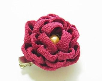 Tsumami Kanzashi flower brooch and hair clip  Kimono Chirimen crepe - Camellia(DarkRed)
