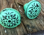 Country Shabby Chic Dresser Cabinet Green Distresses Metal knob Drawer Pull