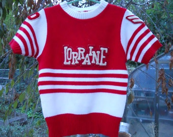 Vintage Cheerleading Sweater Red and White Size 34 Lorraine