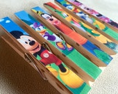 Mickey Mouse Birthday Favor Magnets - Fish Extender Gift - 6 Clothespin Magnets - Mickey and Friends - Disney Cruise Door Magnet Decor