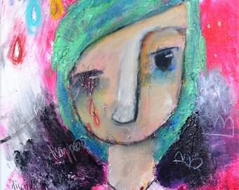 """Deirdre, original Nixie portrait painting, 10x14"""""""