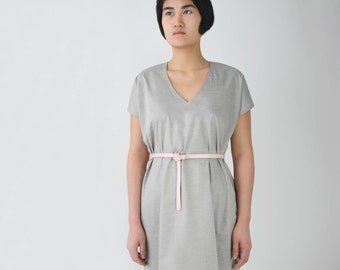 Rosé Leather Belt, slim belt, minimalistic soft pink belt