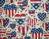 Patriotic Fabric, Americana Fabric, Stars Stripes Fabric, By The Yard, Patriotic Hearts Collection, AHV Fabrics, Fourth of July, Sewing