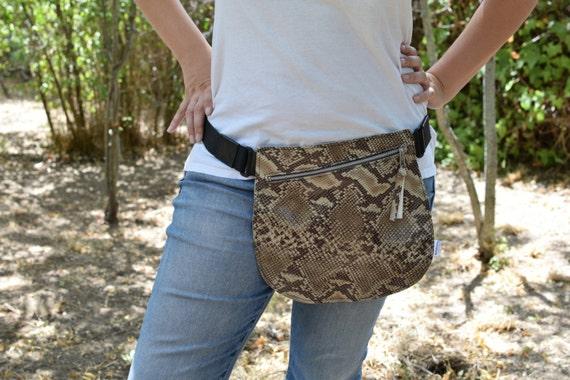 Belt bag,leather waist bag,hip leather bag,fanny pack leather,snake leather bag,hip belt bag,rider bag,red leather fanny,zipper waist