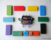 Robot Ornament - XO Bug Bot (Purple) - Upcycled Ornament - Hanging Decor by Jen Hardwick
