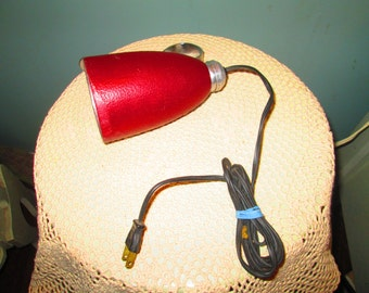 Mid Century Bed Light / 60s Atomic Dark Red Headboard Lamp Works
