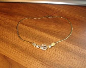 vintage necklace choker goldtone chain rhinestones