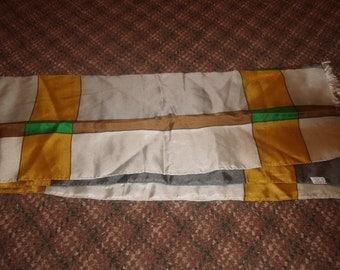 vintage head neck scarf gray gold green silk echo oblong