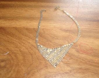 vintage necklace choker goldtone silvertone metal mesh
