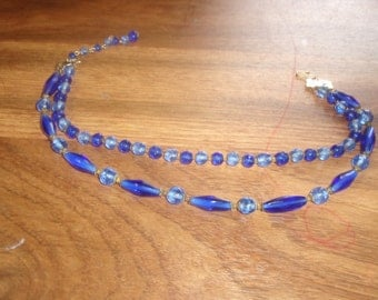 vintage necklace double strand blue glass beads