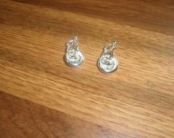 vintage clip on earrings silvertone circle dangles