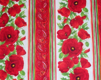 Poppies Fabric, Poppies in Stripes,  Poppies in Rows, Cotton Fabric, By the Yard, Red Poppies