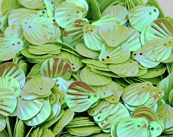 Green Sea Shells Sequins-Lime Green-12x14mm-100 PCS