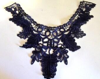 """Lace Applique Collar-15.2""""x12.2""""-Black-1 PIECE"""
