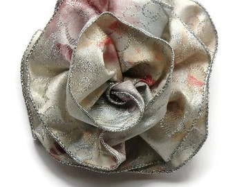 Silver Floral Ribbon Corsage or Barrette, Fiesta Bow, Hair Barrette Bow, Wedding prom or party, Pastels with Silver Metallic Edge, Big bow