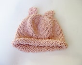 Organic cotton baby hat with ears pink hand knitted