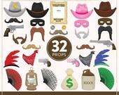DIY Western Photo Booth Props | 32 Printable Cowboy Props | Instant Download | Western Photo-Booth Clipart