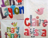 The Original Personalized Quilt Twin, Baby Quilt, Raw Edge Applique Quilt, Name Quilt