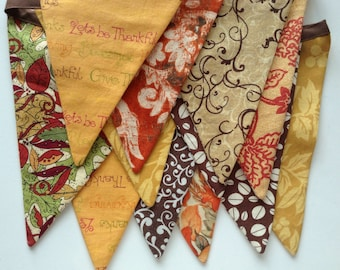 Thanksgiving Banner  /READY TO SHIP/ Fall Buntingr / Autumn Photo Prop  in Gold, Brown and Red / Give Thanks