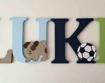 Wooden letters for nursery  blue,green and brown themed letters