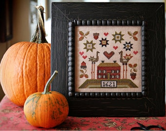 Turkey Love cross stitch patterns by Plum Street Samplers at thecottageneedle.com November friends and family hand embroidery Thanksgiving