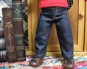 Fits 10 Inch Patsy Tonner-Effanbee Doll ..Girl Cut Denim Fly-Front Jeans.. D518